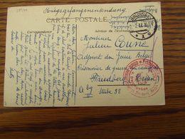 Carte Fantaisie En Feldpost Oblitérée Brussel 1 En 1917. Cachet Rouge De Censure OFFICIERS PRISONNIERS - Andere