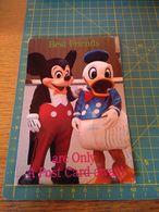 155471 TIMBRO ROSSO BEST FRIENDS CARTOLINA ORIGINALE WALT DISNEY  TOPOLINO E PAPERINO - Disney