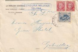 1933-CARTA-Edifil: 687(2), CRUZADA CONTRA EL FRIO. TOLOSA A GIBRALTAR. Llegada - 1931-50 Briefe U. Dokumente