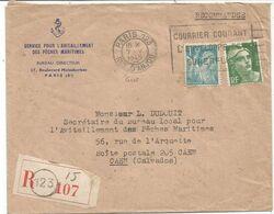 GANDON 5FR VERT + 1FR TURQUOISE LETTRE REC FLEIR COURRIER COURANT PARIS 123 7.V.1945   AU TARIF - 1945-54 Marianna Di Gandon