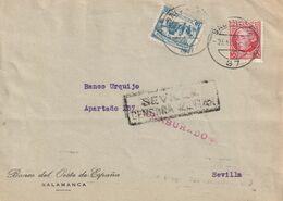1933-CARTA-Edifil: 687, CRUZADA CONTRA EL FRIO. SALAMANCA A SEVILLA. Censuras Y Llegada - 1931-50 Briefe U. Dokumente