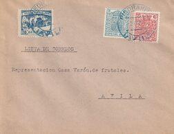 """1937-CARTA-FISCALES """"ESPECIAL MOVIL"""", CRUZADA CONTRA EL FRIO. PIEDRAHITA A AVILA. Llegada - 1931-50 Briefe U. Dokumente"""