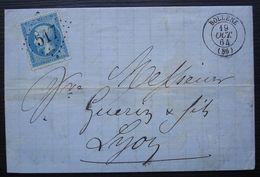 Bollène 1864 GC 517 (Vaucluse) Lettre Pour Lyon - 1849-1876: Periodo Clásico