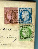 Cèrés 25 C. + 10 C. + 5 C. Sur Lettre D'Issoudun 1875 - 1849-1876: Période Classique