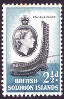 BRITISH SOLOMON ISLANDS 1956 QEII 2½d Black & Blue SG86 FU - British Solomon Islands (...-1978)