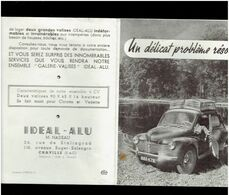 PLAQUETTE PUBLICITAIRE GALERIE POUR RENAULT 4 CHEVAUX IDEAL ALU A CHAVILLE HAUTS DE SEINE - Cars