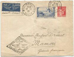 ENTIER 50C PAIX ENVELOPPE + 2FR DAUDET MOULIN ALLIER 27.2.1937 POUR MAMOU GUINEE FRANCAISE AEROMARITIME - Luftpost