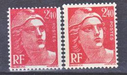 France  714 Variété Plus Petit Impression Lourde Et Normal  Marianne De Gandon Neuf ** TB MNH Sin Charnela - Varietà: 1945-49 Nuovi