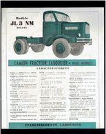 PLAQUETTE TECHNIQUE CAMION TRACTEUR LABOURIER JL3 NM DIESEL USINE A MOUCHARD JURA - Camion