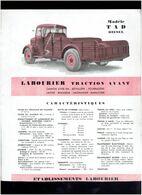 PLAQUETTE TECHNIQUE CAMION MODELE TAD DIESEL BETAILLIERE FOURRAGERE LAITIER BRASSEUR LIMONADIER USINE A MOUCHARD JURA - Trucks