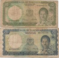 Tanzanie : Série De 2 Billets : 10 Shillings + 20 Shillings : Très Mauvais état - Tanzania