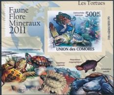 [39374]TB//ND/Imperf-Comores 2011 - BL2164, Faune, Les Tortues, Tortue Imbriquée. - Turtles