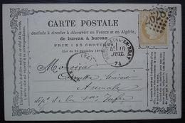 Neufchâtel-en-Bray 1874 GC 2628 Sur Carte Précurseur Pour Aumale - 1849-1876: Periodo Classico