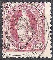 HELVETIA 1894: 13 Vertikalzähne Dents KZ II Zu 71D Mi 63YC Yv 76  1 Fr Lila Mit Zoll-o BUCHS BAHNHOF (Zumstein CHF 6.00) - Used Stamps