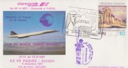 Enveloppe   CONCORDE   CHILI   Tour  Du  MONDE  PRADO  VOYAGES     ILE  DE  PAQUES  - IGUAZU   1987 - Concorde