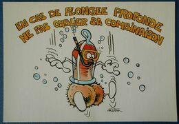 F123 Carte Postale En Cas De Plongée Profonde Ne Pas Oublier Sa Combinaison Port Du Préservatif - Humour