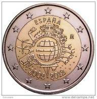 """** 2 EURO COMMEMORATIVE  ESPAGNE 2012 """" 10 Ans De L Euro """" PIECE NEUVE ** - Spain"""