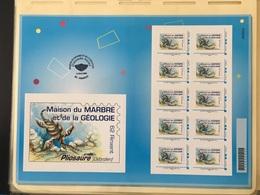 Carnet Planche De 10 Timbres Montimbramoi Lettre Prioritaire Maison Du Marbre Et Géologie Rinxent Pliosaure Préhistoire - France