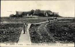 Cp Saint Helier Jersey Kanalinseln, Chateau Elisabeth A Maree Basse - Sonstige