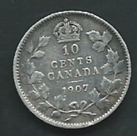 CANADA 10 CENTS 1907 ARGENT SILVER Pieb 24402 - Canada