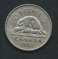 CANADA 5 Cents 1942   --  George VI  Pieb 24405 - Canada