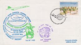 Enveloppe  CONCORDE    PORTUGAL    Record  TOUR  DU  MONDE   1992 - Concorde