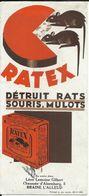 Buvard Vloeipapier : RATEX Souris Muis Rat Ratten Mulots - Droguerie Léon Lemoine Glibert Braine-l'Alleud - Carte Assorbenti