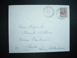LETTRE TP COQ DE DECARIS 0,30 OBL.29-12 1967 SOULIGNE SOUS BALLON SARTHE (72) - Marcophilie (Lettres)