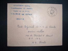 LETTRE MAIRIE OBL. Tiretée 5-10 1966 SPAY SARTHE (72) - Marcophilie (Lettres)