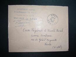 LETTRE MAIRIE OBL. Tiretée 30-4 1965 SPAY SARTHE (72) - Marcophilie (Lettres)