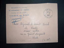 LETTRE MAIRIE OBL. Tiretée 4-11 1964 SPAY SARTHE (72) - Marcophilie (Lettres)