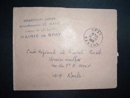 LETTRE MAIRIE OBL. Tiretée 14-12 1966 SPAY SARTHE (72) - Marcophilie (Lettres)