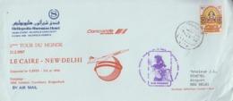 Enveloppe   CONCORDE   2éme   Tour  Du  MONDE   LE  CAIRE  -  NEW  DELHI   1987 - Concorde