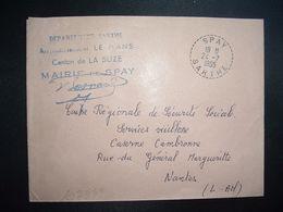 LETTRE MAIRIE OBL. Tiretée 24-7 1965 SPAY SARTHE (72) - Marcophilie (Lettres)