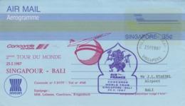 Aérogramme   CONCORDE   2éme   Tour  Du  MONDE   SINGAPOUR  -  BALI   1987 - Concorde