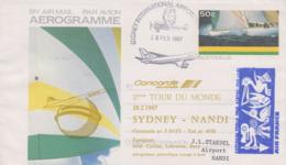 Aérogramme   CONCORDE   2éme   Tour  Du  MONDE   SYDNEY  -  NANDI   1987 - Concorde