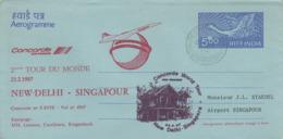 Aérogramme   CONCORDE   2éme   Tour  Du  MONDE   NEW  DELHI  - SINGAPOUR   1987 - Concorde
