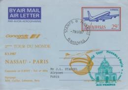 Aérogramme   CONCORDE   2éme   Tour  Du  MONDE   NASSAU  -  PARIS   1987 - Concorde