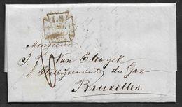 1857 ENTIRE - LONDON TO  BRUSSELS - LOMBARD STREET Mx PM - ANGLETERRE PAR OSTENDE - BRUXELLES ARRIVAL - ...-1840 Préphilatélie