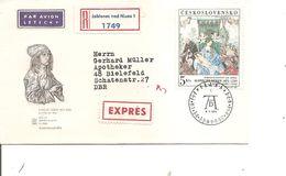 Tchécoslovaquie - Durer ( FDC De 1968 Voyagé En Exprès De JablonecnadNisou Vers L'Allemagne à Voir) - Storia Postale