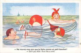 """SPAHN """"ne Trouvez Vous Pas Que Je Flotte Comme Un Bouchon"""", Grosse Femme à La Mer - Otros Ilustradores"""
