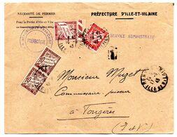 Taxe-1943-Lettre Taxée De La Préfecture  De Rennes-35 Pour Fougères-35 --Composition De Timbres Taxes..cachets - Marcophilie (Lettres)