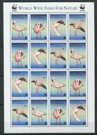 269 - ANGOLA 1999 - Yvert 1253/56 X 4 En Feuille - Echassier Flamant Rose WWF - Neuf ** (MNH) Sans Trace De Charniere - Angola