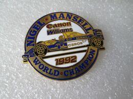 RARE  TOP  BIG PIN'S   FORMULE 1  RENAULT  WILLIAMS  CANON  1992  NIGEL MANSELL WORLD CHAMPION  47x42mm - F1