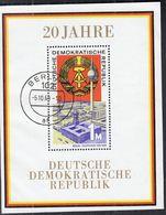 DDR  Block 28, Gestempelt, 20 Jahre DDR 1969 - DDR