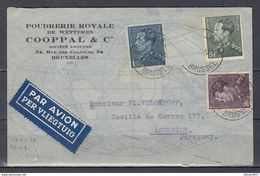 Censuur Brief Van Bruxelles 9 Brussel Naar Asuncion (Paraguay) Poudrerie Royale De Wetteren Cooppal - 1936-1951 Poortman