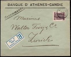 CRETE / GREECE GRÈCE Registered Commercial Cover With 50 LEPTA ELLINIKI DIOIKISIS And HERAKLION 19.5.1913 To Zurich - Creta