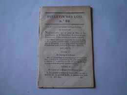 Napoléon: Banque De France:administration,attribution; Nouveau Tarif De Port Des Lettres; Règlements Sur Les Boissons; - Wetten & Decreten