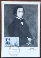 CM 1960 - YT N°1262 - DEGAS - PARIS - Cartas Máxima