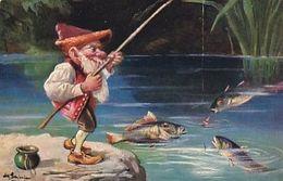 Zwerg Am Fischen - Signiert - 1908        (200727) - Autres Illustrateurs